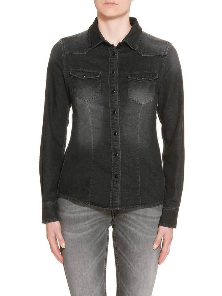 Herrlicher Lilien Denim Jersey Hemd dunkelgrau