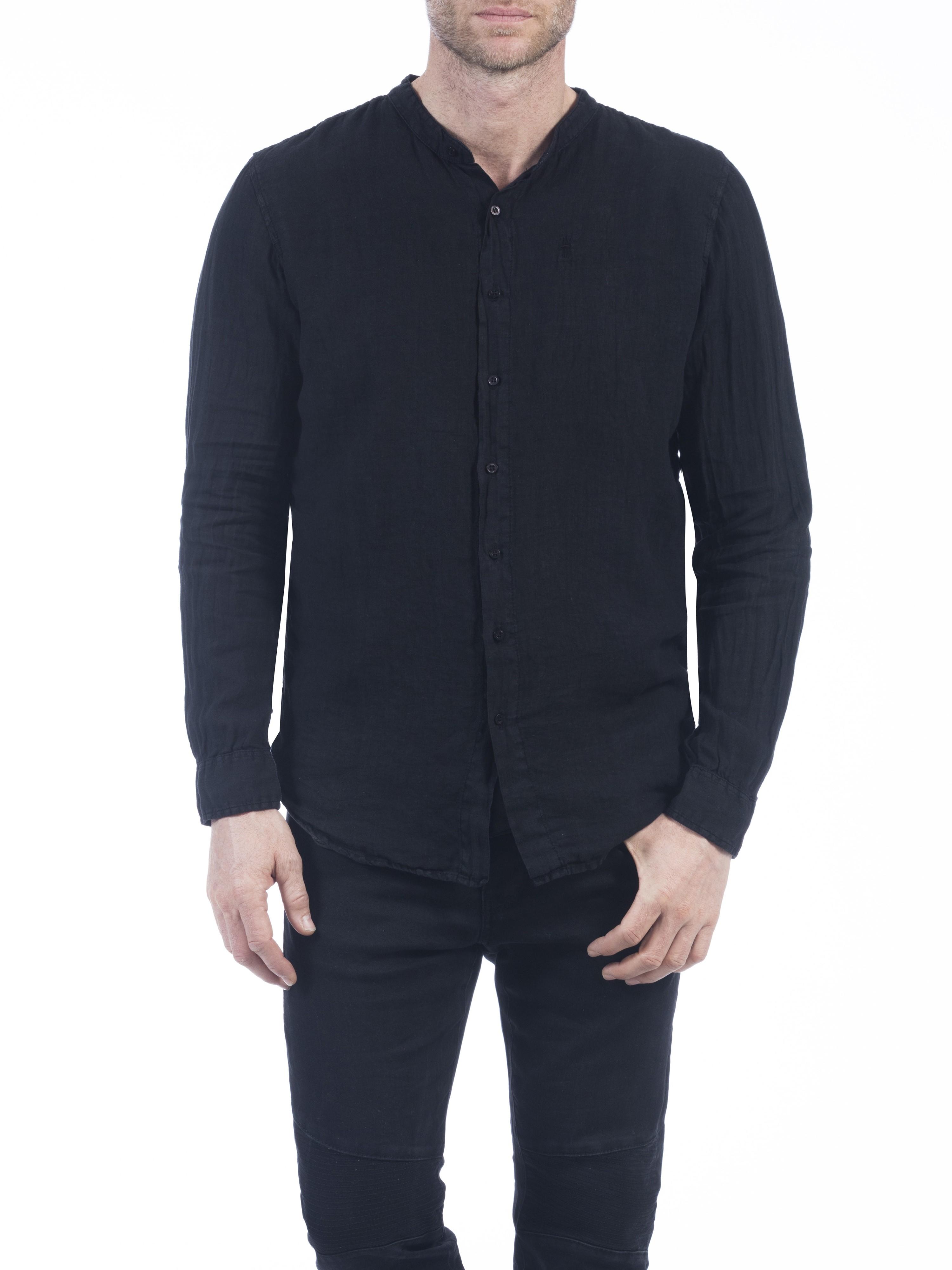 Herrlicher Ethan Linen Uni Hemd schwarz vorne