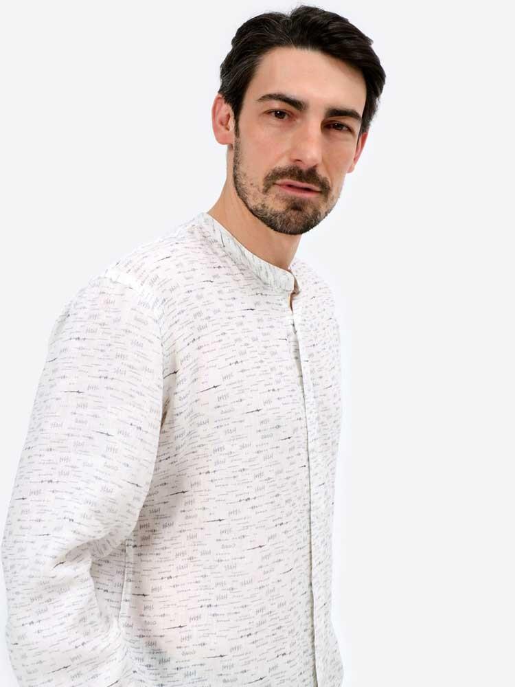 Herrlicher Ethan Leinenhemd gemustert mit Stehkragen