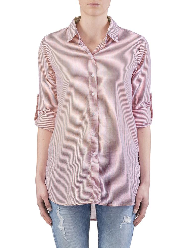 Herrlicher Liska Voile Cotton Stripe Hemd rot vorne