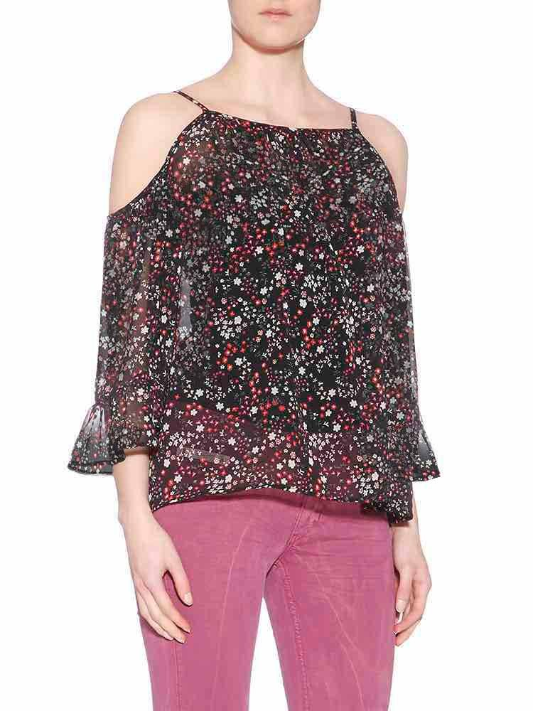 Herrlicher Ainu Printed Chiffon Off-Shoulder-Top