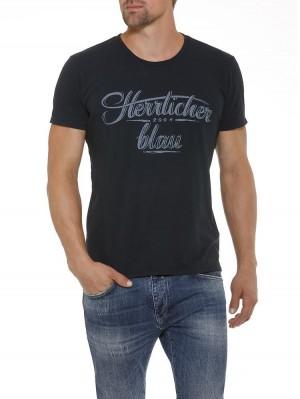Herrlicher Base Single Jersey T-Shirt dunkelblau vorne