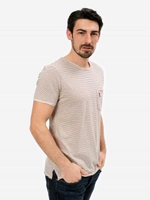 Herrlicher Ronny Leinen T-Shirt mit Streifen