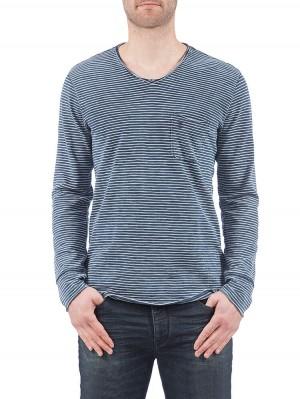Herrlicher Runner Single Jersey Langarmshirt blau vorne