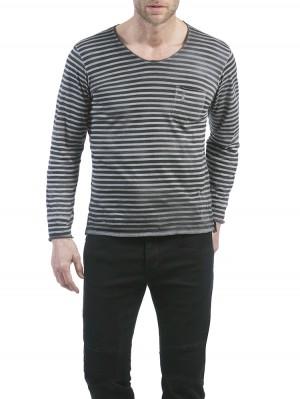 Herrlicher Runner Jersey Striped Longsleeve anthrazit vorne