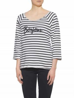 Herrlicher Benice Sweatshirt mit Print gestreift vorne