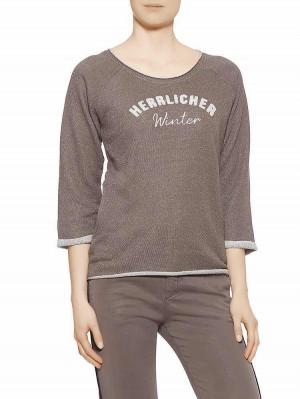 Herrlicher Benice Glitter Sweatshirt mit Schriftzug braun vorne
