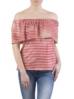 Herrlicher Cella striped Jersey Top rot vorne