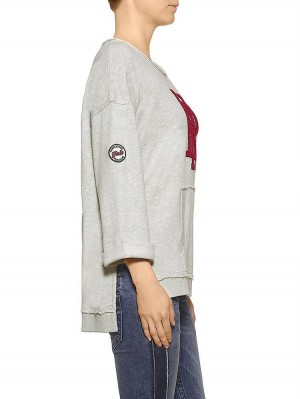 Herrlicher Rosa Sweatshirt mit Logo Print