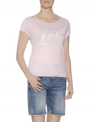 Herrlicher Yana Jersey T-Shirt mit Love Print vorne