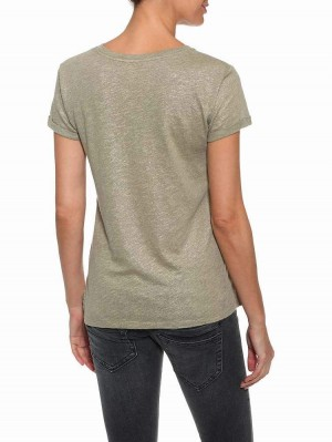 Herrlicher Kendall Jersey T-Shirt mit Glitzer und Print