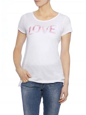 Herrlicher Milen Jersey Statement Shirt, Modelbild vorne