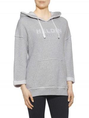 Herrlicher XXL-Kapuzensweatshirt grau vorne