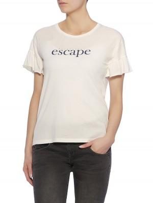 Everly Jersey Statement Shirt, offwhite vorne