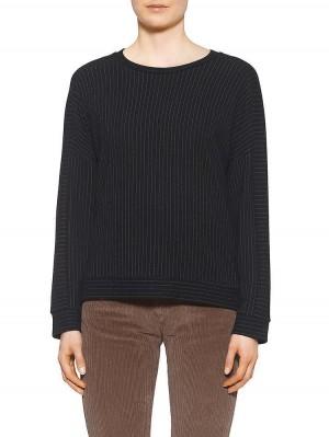 Herrlicher Sage Sweatshirt mit Nadelstreifen