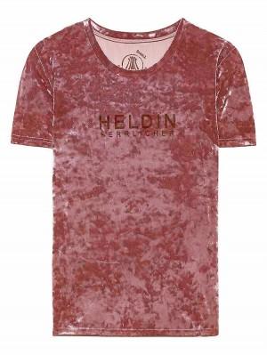 Herrlicher Lark Samt T-Shirt mit Statement Print