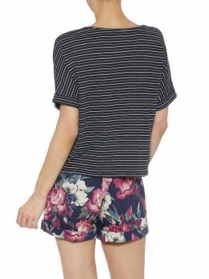 Herrlicher Jorlin Jersey T-Shirt gestreift mit Stickerei