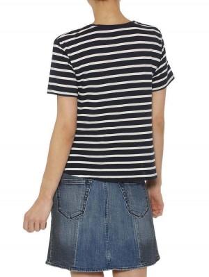 Herrlicher Lily Jersey T-Shirt mit Knoten gestreift