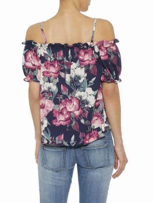 Herrlicher Gala Jersey Carmenshirt mit Blumenmuster