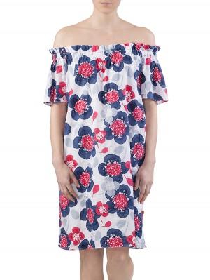 Herrlicher Clarina Cotton AOP Kleid rot vorne