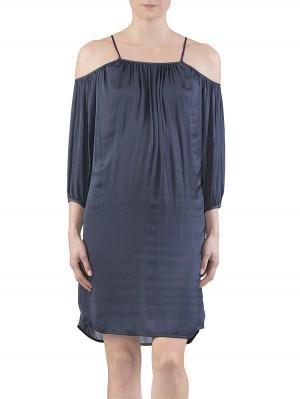 Alva Satin Kleid dunkelblau vorne
