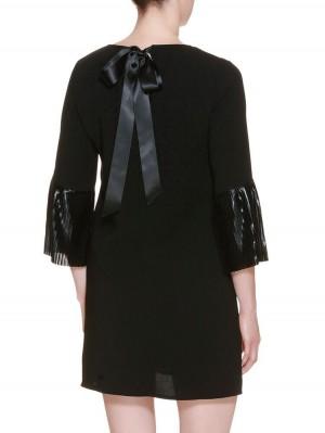 Herrlicher Anuk Plissee Satin Mix Kleid schwarz