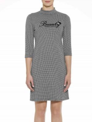 Herrlicher Lacey Kleid mit Hahnentrittmuster