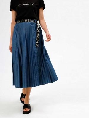 Herrlicher Enia Jeans-Midirock mit Plisseefalten