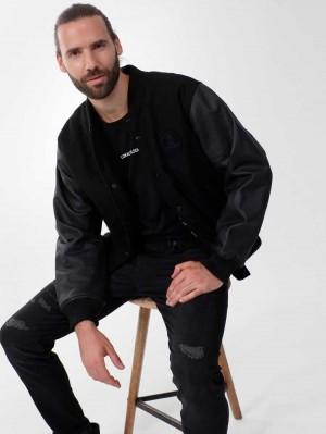Herrlicher Brian Collegejacke aus Woll-Mix mit Lederärmeln