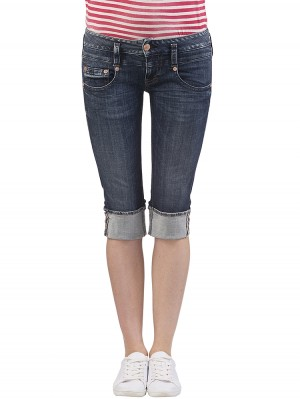 Herrlicher Pitch Short Denim Powerstretch Jeans dunkelblau vorne