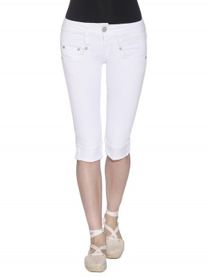 Herrlicher Pitch Short Drill Stretch Capri Jeans Farbe white