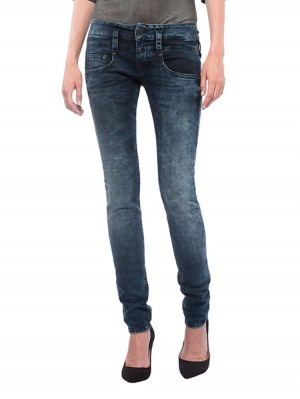 Herrlicher Pitch Slim Denim Stretch Jeans blau vorne
