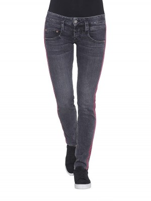 Herrlicher Pitch Slim Denim Black Stretch Jeans mit Galonstreifen