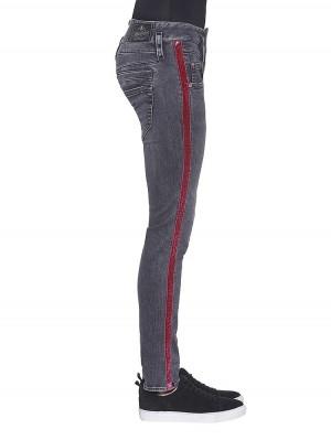 Herrlicher Pitch Slim Black Stretch Jeans mit Galonstreifen