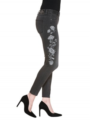 Herrlicher Superslim Cropped Denim Black Stretch Jeans grau