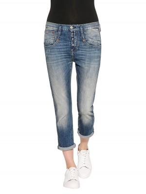 Herrlicher Shyra Cropped Denim Comfort + Jeans mittelblau vorne