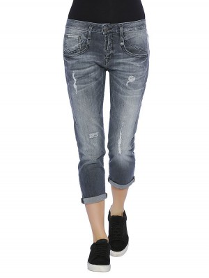 Herrlicher Shyra Cropped Denim Black Stretch Jeans vorne