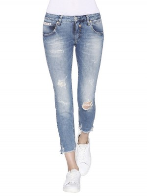 Herrlicher Touch Cropped Denim Powerstretch Jeans vorne