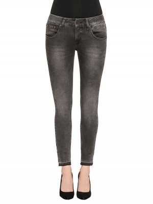 Herrlicher Touch Cropped Denim Black Stretch Jeans schwarz