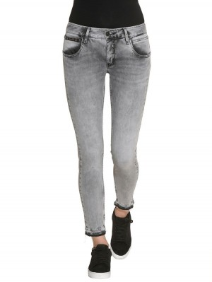 Herrlicher Touch Cropped Denim Black Stretch Jeans hellgrau