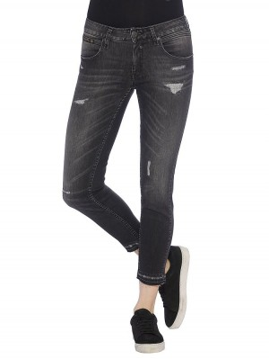 Herrlicher Touch Cropped Denim Black Stretch Jeans