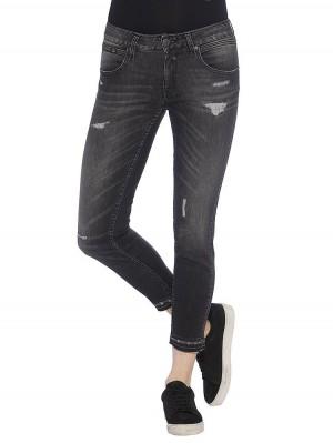 Herrlicher Touch Cropped Denim Black Stretch Jeans mittelgrau
