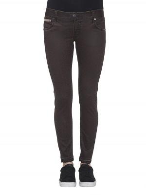 Herrlicher Touch Cropped Jeans beschichtet mit Leoprint braun vorne