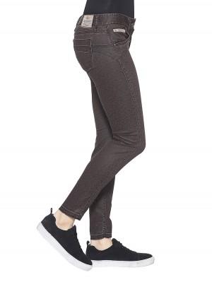 Herrlicher Touch Cropped Jeans beschichtet mit Leoprint