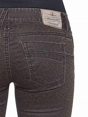 Herrlicher Touch Cropped Hose beschichtet mit Leoprint
