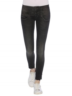 Herrlicher Pitch Slim Cropped Denim Black Stretch Jeans