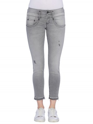 Herrlicher Pitch Slim Cropped Jeans in Grau