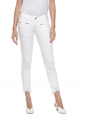 Herrlicher Pitch Slim Cropped Stretch Jeans in Weiß