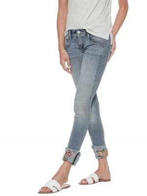 Herrlicher Gila Slim Cropped Stretch Jeans mit Stickerei