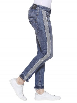 Pitch Slim Stripe Denim Stretch Jeans mit Galonstreifen mittelblau seitlich